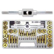 40 Piece Titanium Tap & Die Hexagon Tool Set Mm Metric Fine Standard