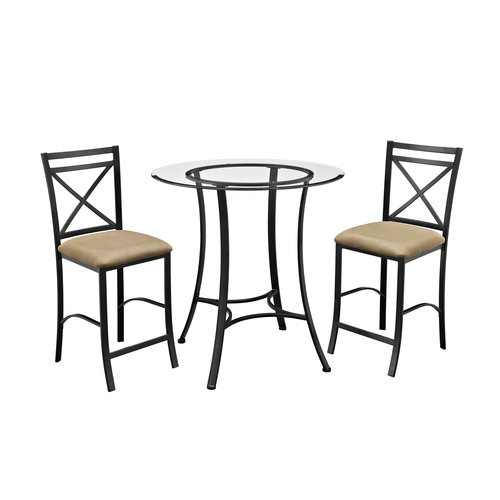 Charmant Dorel Living Valerie 3 Piece Counter Height Glass And Metal Dining Set
