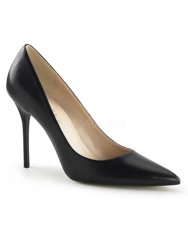"CLAS20/BPU Pleaser Single Soles 4"" Heel Shoes Blk Pu Size: 8"