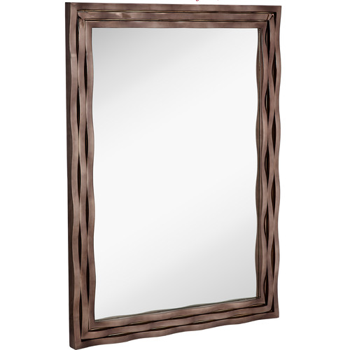 Majestic Mirror Large Modern Rectangular Mirror with Smoked Chrome Wavy Frame by Majestic Mirror