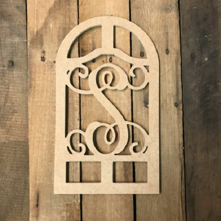 Wooden Cathedral Arch Frame Monogram 12'' S, Wood Letter Cutout - S Monogram