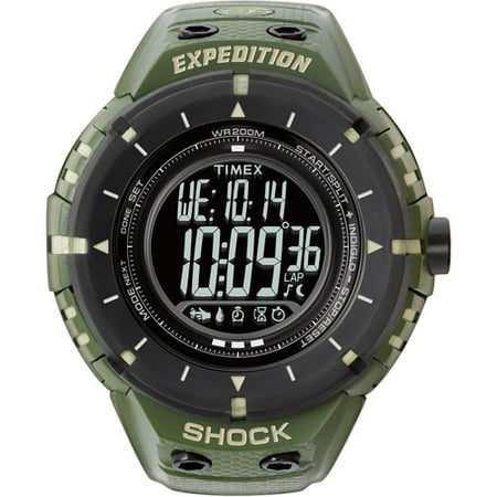 Timex Men's Expedition Shock Digital Compass Watch, Green Resin Strap
