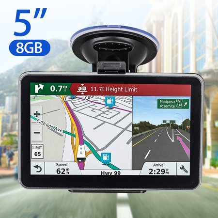 TSV GPS Navigation for Car, 5 Inch Touch Screen 8GB Vehicle GPS Navigator System Built-in Multimedia Entertainment Advanced Lane Guidance and Spoken Turn-by-Turn (Best Built In Navigation System)