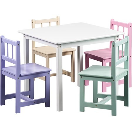 berman kids pastel table 4 chairs. Black Bedroom Furniture Sets. Home Design Ideas