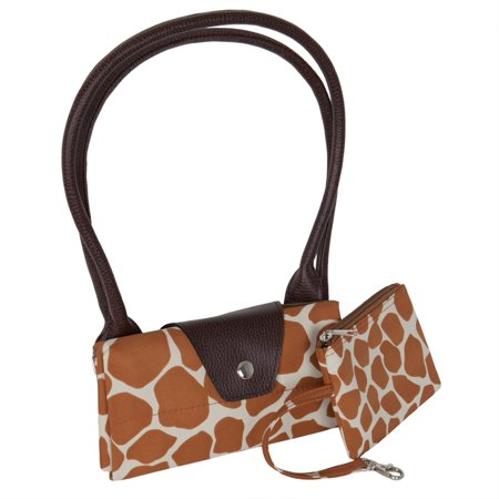Giraffe Print Fold Up Tote Bag With Removable - Giraffe Animal Print Handbag