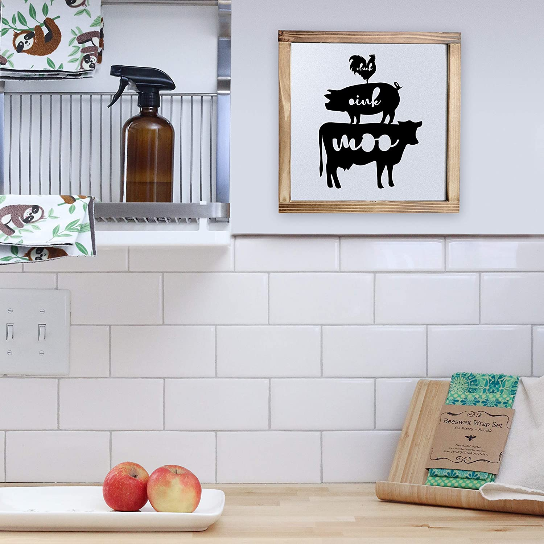 Farm Fresh Pig /& Cow ~ Farm Fresh Signs 4x4Farmhouse Tiered Tray Decor Rustic Country Signs| Chicken
