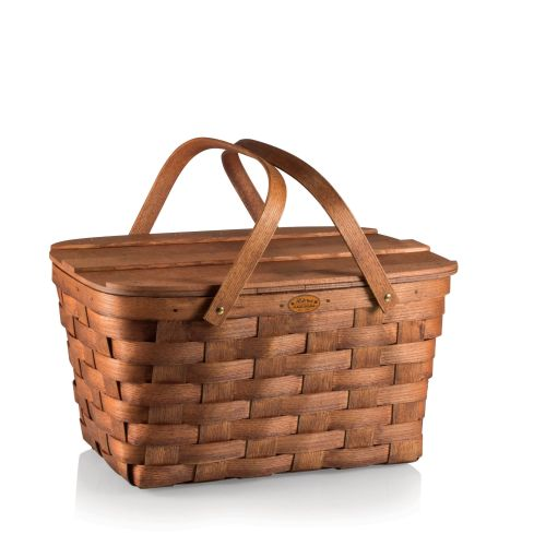 Prairie Picnic Basket Natural Wood by