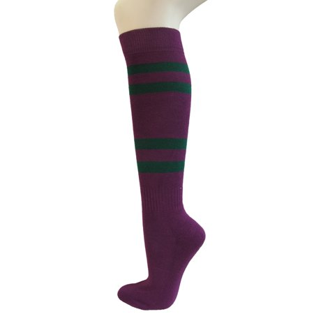 Couver Cotton Premium Purple Striped Softball Baseball Sports Knee High Tube Socks, Dark Green Medium