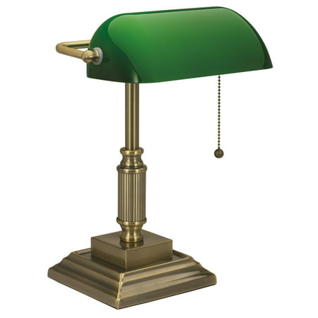 - V-light Traditional Style CFL Banker's Desk Lamp with Green Glass Shade, Antique Bronze Finish