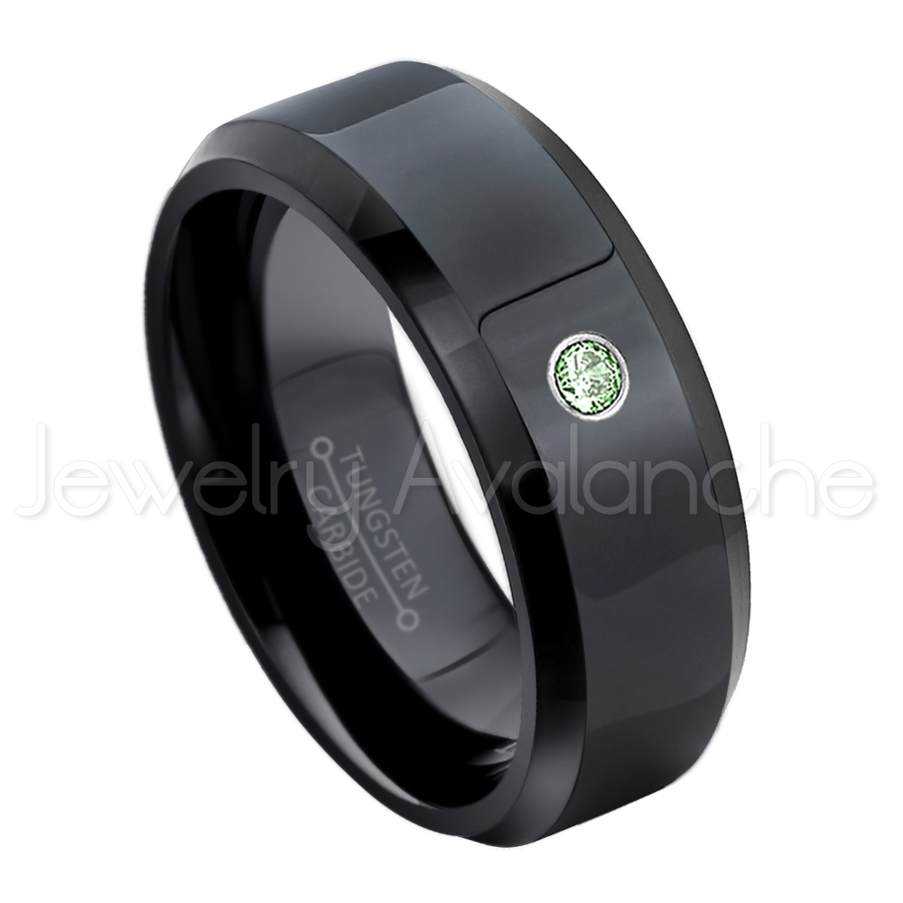 8mm Beveled Edge Black Tungsten Ring - 0.07ct Solitaire Alexandrite Ring - Personalized Tungsten Wedding Ring - Custom Made June Birthstone Ring TN084BS