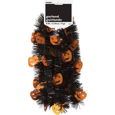 9' Pumpkin Halloween Tinsel Garland