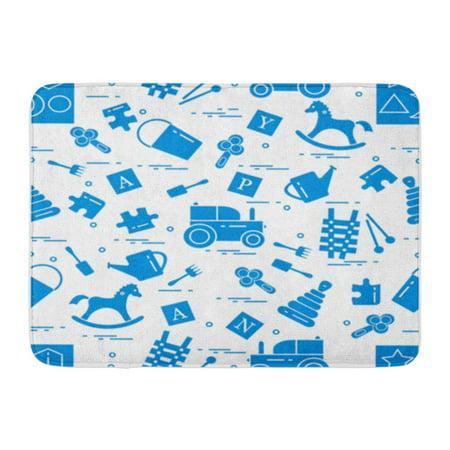 SIDONKU Cute Variety of Children Toys Rocking Horse Cubes Rattle Pyramid Sorter Doormat Floor Rug Bath Mat 23.6x15.7 inch