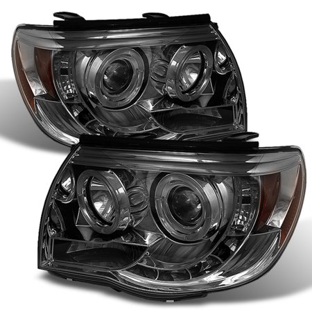 Fits 05-11 Toyota Tacoma Pickup Smoke Dual Halo Projector LED Headlights L+R