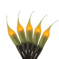 Darice 20ct Micro Silicone Flame Bulb Christmas Lights Amber - 3.25' Brown Wire