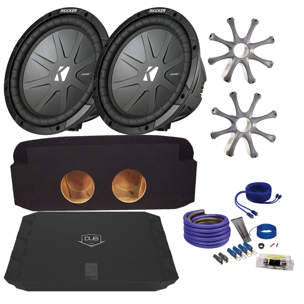 "Kicker Cadillac Escalade CWR102 10"" Truck Bundle with Crunch PX2000.1D 2000 Watt Max Mono Amp, Enclosure, Wire Kit"