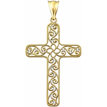 US GOLD 10kt Gold Vintage Filigree Cross Charm Pendant