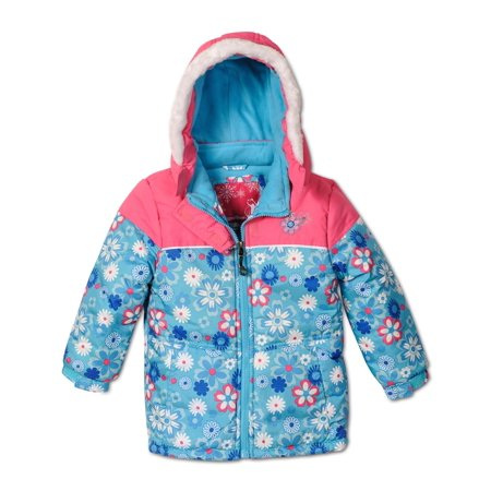 Rugged Bear Little Girls' Floral Printed Lined Winter Hooded Jacket Coat,2T-6x, Turquoise, Size: 6X - image 3 de 3