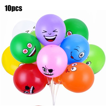 Cute Printed Big Eyes Emoji Smiley Face Latex Balloons for Party Birthday or Holiday Decoration Style 1 Pack of 10 Multi-color](Smiley Face Decorations)