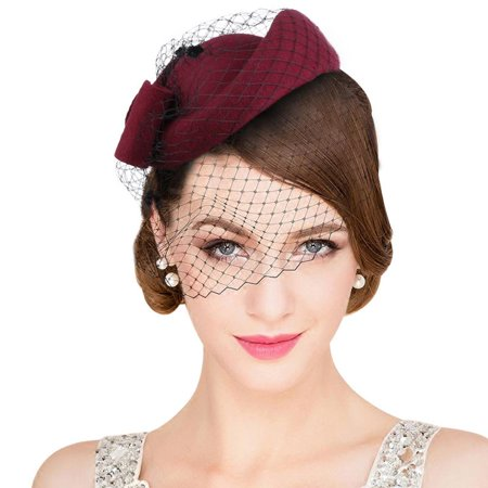 VBIGER Women Fascinator Hats Derby Wedding Hats Vintage Hat Pillbox Hat Woollen Felt Hat Bow Veil Party Hat for Women - Black Felt Derby Hat