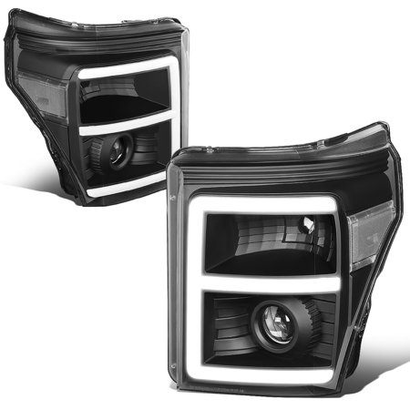 Ford F350 Super Duty Corner (For 2011 to 2016 Ford F250 / F350 / F450 / F550 Super Duty Black Housing Clear Corner 3D LED E -Styling DRL Projector Headlight Headlamps 12 13 14 15 )