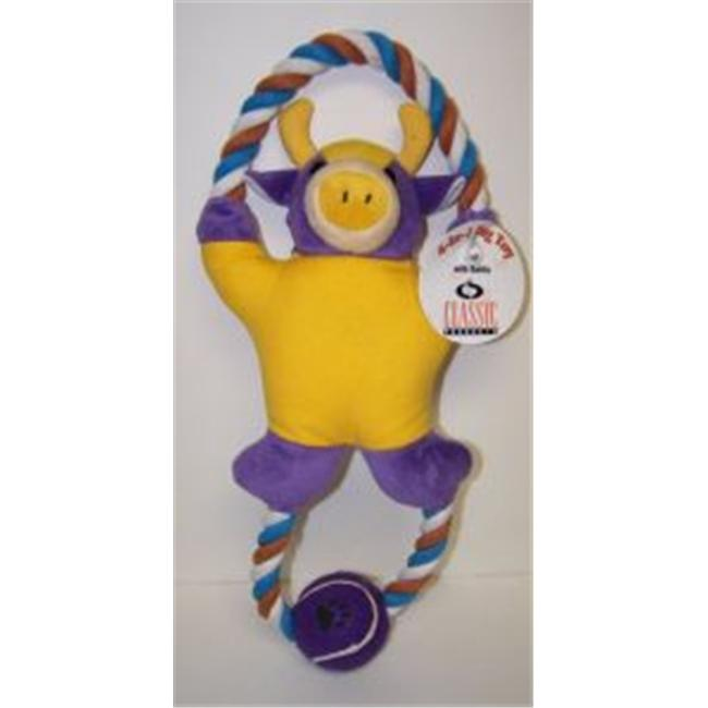 Classic Pet Products 028-75097 Classic Pet Products Plush- Rope- Canvas and Tennis Ball Bull Dog Toy