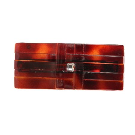 Caravan Hand Decorated French Ribbon Look Tortoise Shell Barrette with Flat Swarovski Crystal Stone, Large, .65 Ounce ()
