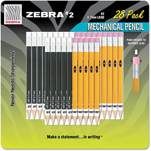 Zebra #2 Mechanical Pencil, 14 Yellow/14 Black, 28/Pack