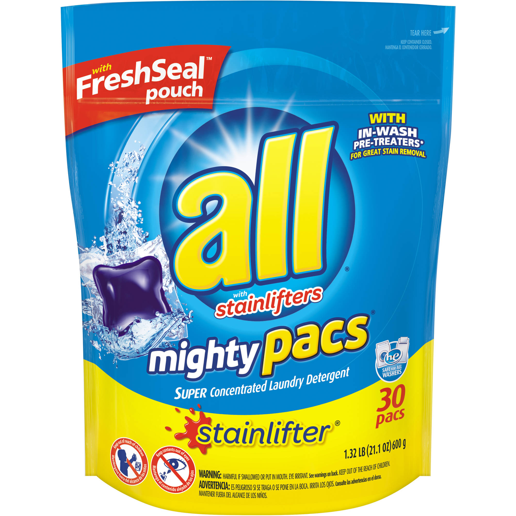 All Mighty Pacs Stainlifter Super Concentrated Laundry Detergent Pacs, 30 count, 21.1 oz