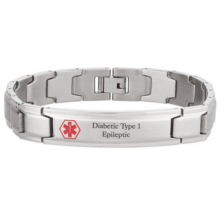 Personalized Men's Stainless Steel Engraved Medical ID Bracelet