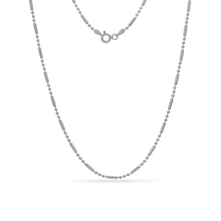 Sterling Silver Alternating Bead Chain Necklace 30 Inch
