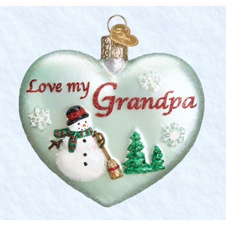 Old World Christmas Love my Grandpa Heart Glass Ornament FREE BOX 30044 New