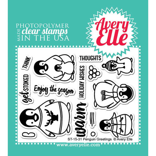 "Avery Elle Clear Stamp Set 4""X3""-Penguin Greetings"