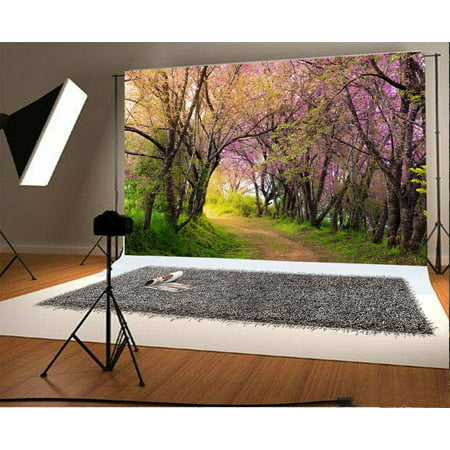 GreenDecor Polyster 7x5ft Photography Backdrop Spring Valentine's Day Nature Outdoor Blooming Flowers Forest Trees Green Grass Field Dirt Road Photo Background Children Baby Adults Portraits