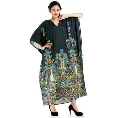 e022f173d8d Goood Times - Long Women Plus Size Black Kaftan for Women Paisley Print Long  Caftan Maxi Dress Cover Up Women s Kaftans Dresses for Summer by Goood  Times ...