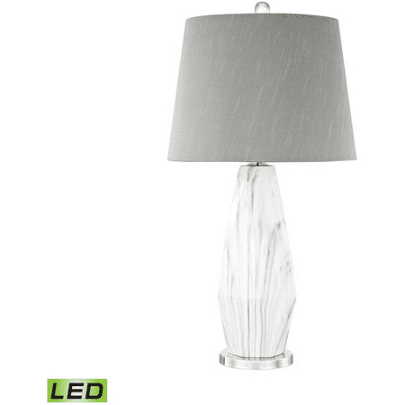World of Lights WLGT145757 Table Lamps Polished Nickel White Faux Marble Ceramic Metal Sochi