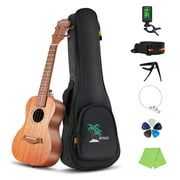 ammoon 23 Inch Acoustic Concert Ukulele Kit Mahogany Plywood Ukelele with Gig Bag Uke Strap Spare Strings Clip-on Tuner Cleaning Cloth Capo 5pcs Celluloid Picks for Beginners