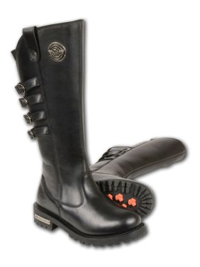 78f9c0fff172 Product Image Milwaukee Ladies High Rise Leather Riding Boots w Four Calf  Buckles Black