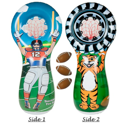 Football With Inflatable Balls (Inflatable Football Toss Sports Game with 3 Mini Footballs Included | 5 Foot Tall Double Sided Throwing Target Toy - Football Player on One Side and Mascot Holding Tire on)