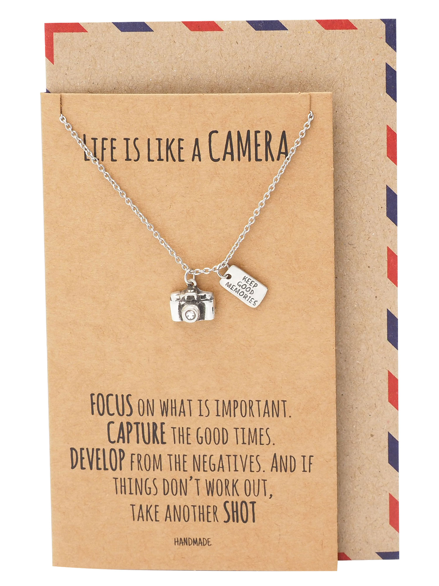 Quan Jewelry Cute Camera Miniature Pendant Necklace For Women Photography Gifts Best Friends Selfie Lovers Comes With Inspirational Quote
