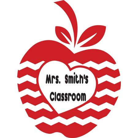 Personalized Name Vinyl Decal Sticker Custom Initial Wall Art Personalization Decor Classroom School Teacher Red Apple 10 Inches X 12 Inches (Apple Theme Classroom)