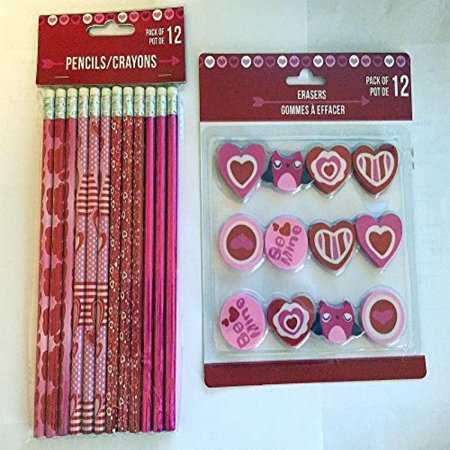 Valentines Day Themed Pencils and Erasers - 12 count each by Greenbrier - Valentine Pencils
