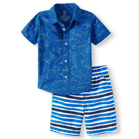 Wonder Nation Short Sleeve Button Down & Shorts, 2pc Outfit Set (Toddler Boys) (First Communion Outfit For Boys)