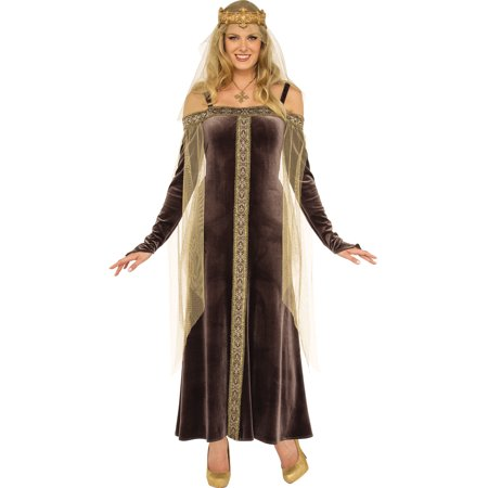 Lady Grey Women Brown Medieval Renaissance Queen Halloween Costume-Std