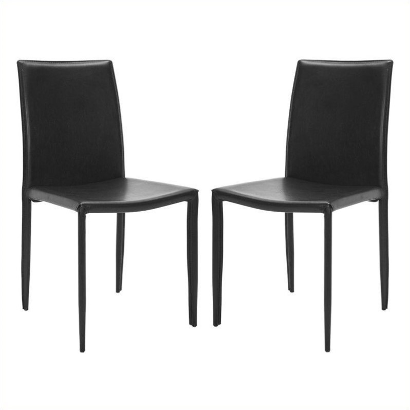 Hawthorne Collection Iron and Leather Dining Chair in Black (set of 2) - image 1 of 1