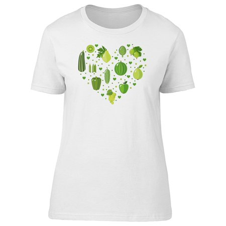 Cute Green Veggies Heart Doodle Tee Women's -Image by Shutterstock