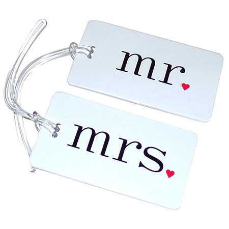 Mr. and Mrs Luggage Tags WEDDING HONEYMOON LUGGAGE TAGS, Clear strap is included By Hortense B Hewitt short description is not available