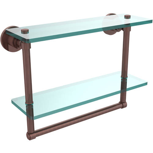 """Washing Square Collection 16"""" 2-Tiered Glass Shelf with Integrated Towel Bar (Build to Order)"""