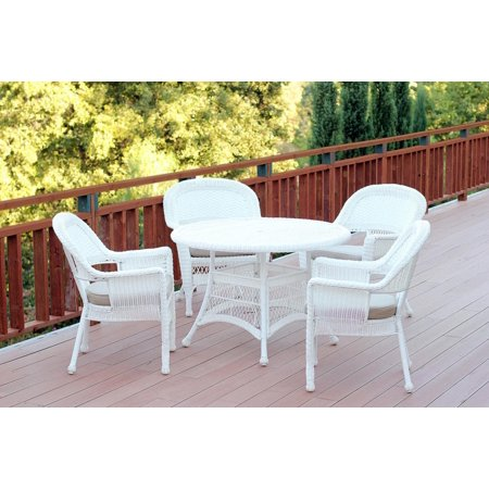 5 piece white resin wicker chair table patio dining