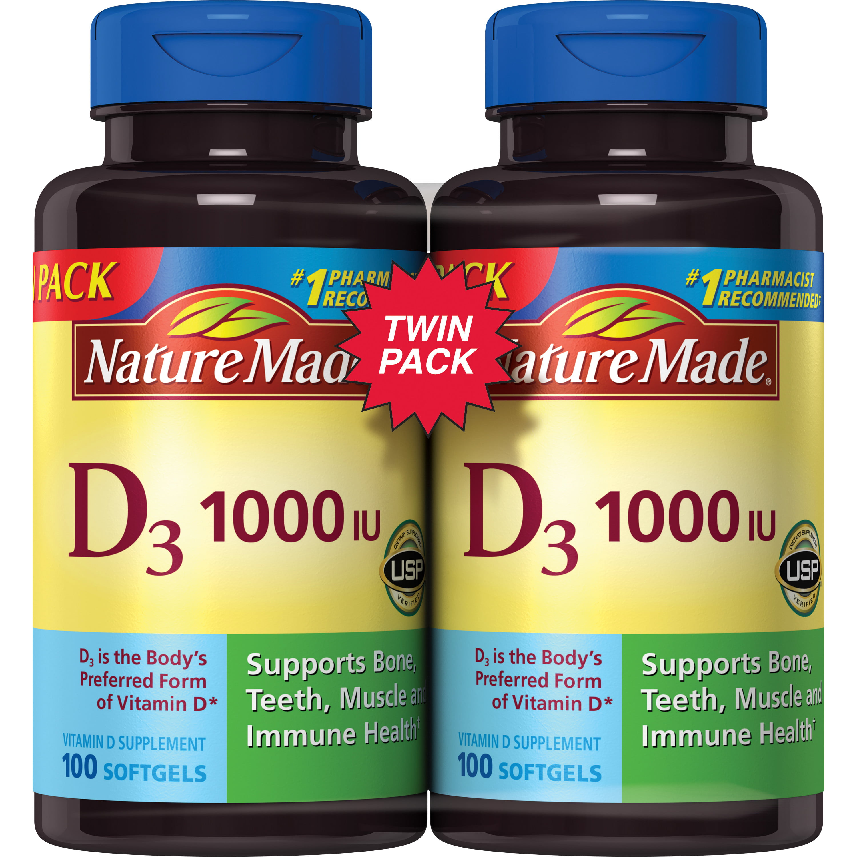 vitamin nature 1000 iu mcg pack d3 softgels count twin tablets walmart health supplements 2x100 bone joint sealed ct displays