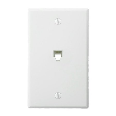 Leviton 4625B-46W White 6P6C Modular Telephone Jack Wall Plate - Leviton Snap In Jack